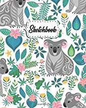 Sketchbook: Exotic Floral Journal Book for Drawing, Sketching, Painting & Writing | Workbook & Notebook for Class, Work or Home Use | Adorable Koala Bear & Plumeria Flower