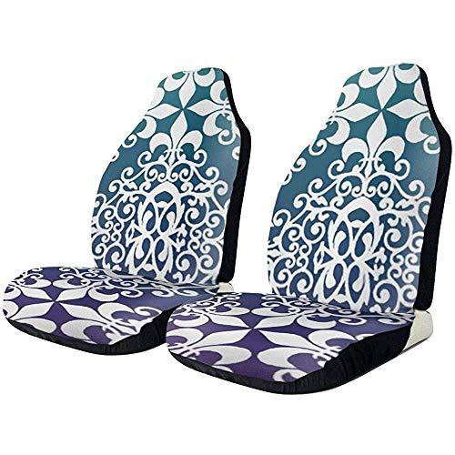 Autostoelhoezen, lila en blauwgroen damast fit volledige set autozitkussen set met twee voorste hoezen anti-slip achterzijde/eenvoudige installatie
