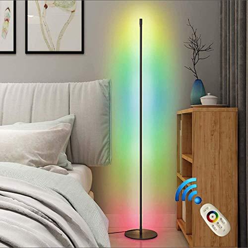 HMLIGHT LED Stehlampe 20W Dimmbar Stehleuchte mit RGB und Fernbedienung, Modern Farbwechsel Eckleuchte Standlampe für Wohnzimmer Schlafzimmer, Schwarz [Energieklasse A],Schwarz,Fernsteuerung
