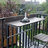 FURNIKNA Balcony Bar Table for Railings, Balcony Railing Hanging Table Folding Balcony Table Hanging Adjustable Deck Table for Patio, Garden