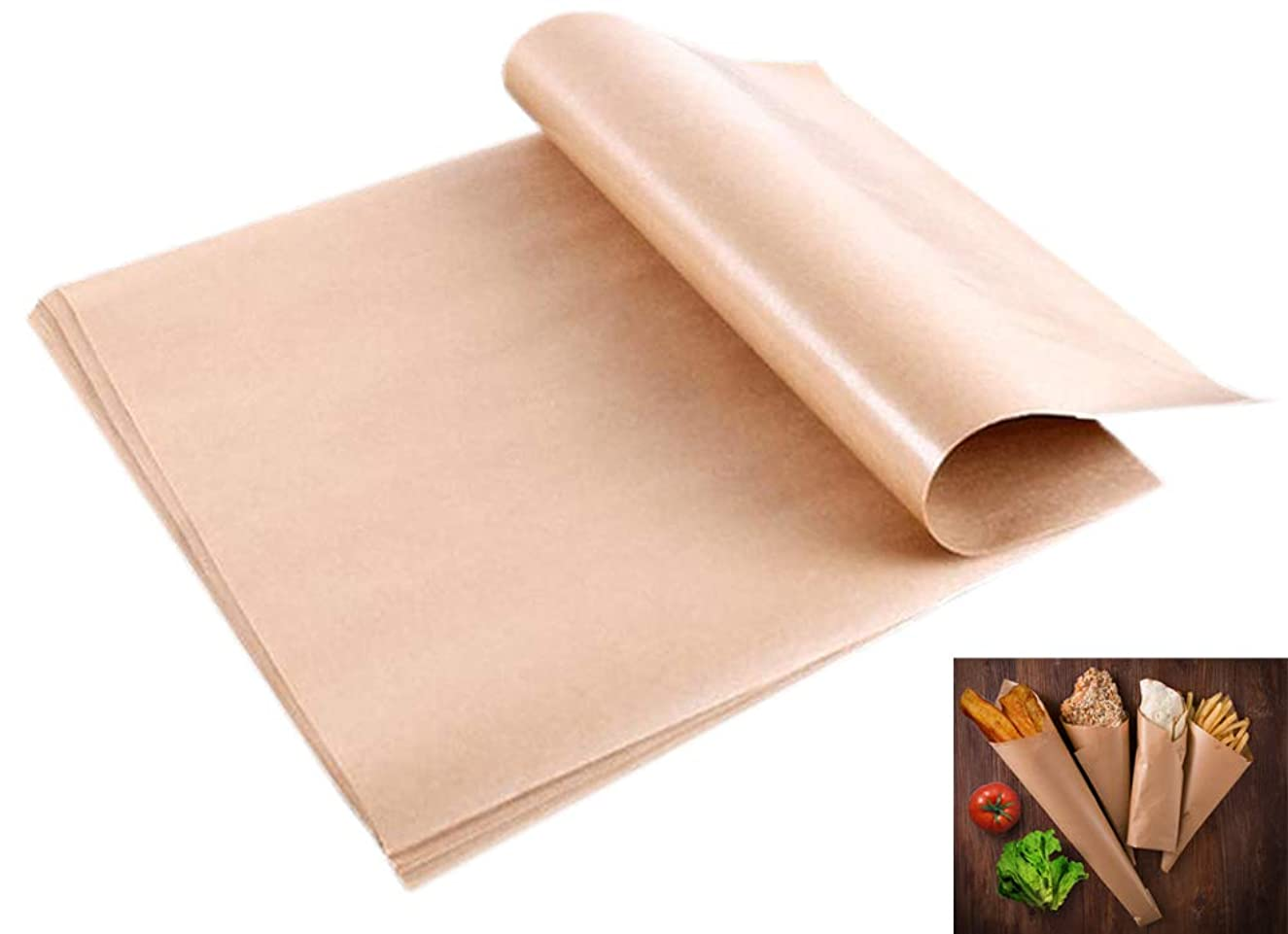 Ocharzy 200 pcs Natural Kraft Food Wrapping Paper Baking Sheet Paper Oilproof Non-Stick No Curl (200 pcs, 11.611.22 in)