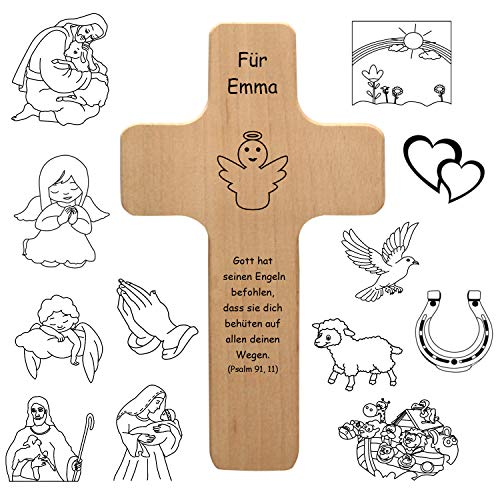 Holzkreuz mit individueller Gravur - personalisiert mit Name, Spruch, Motiv - Holz Kruzifix als Geschenk zur Geburt, Taufe, Kommunion, Firmung - Kreuz für Kinder und Erwachsene