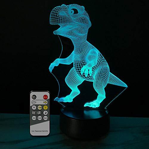 Dinosaur Serie 3D Luz Nocturna Led Control Remoto Toque Colorido Pareja Niños Lámpara De...