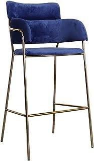 JUANxiao Counter Chair, Modern Minimalist Wrought Iron Seat Creative Coffee Shop Beauty Stool Metal Backrest High Stool Ho...