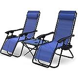 VOUNOT Set de 2 Tumbona Jardín Exterior Plegable con Mesa Auxiliar Portavasos, Silla Reclinable con Reposacabeza Extraíble, Carga Máxima 120KG, Azul