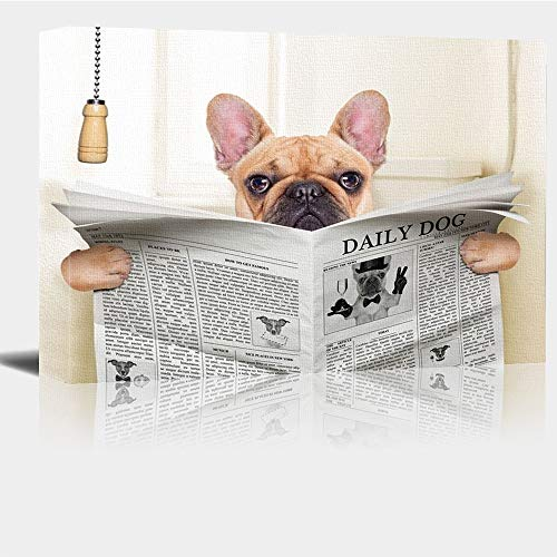 Painted Wall Art Fawn French Bulldog Dog Sitting On Wall Painting For Kids Deer Pictures Wall Decor Print Decor For Home 20x16 Inch With Framed