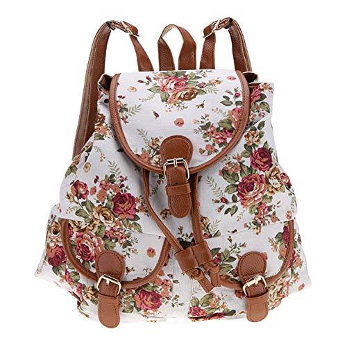 Oinna 1 mochila retro para mujer, diseño clásico de rosas, de alta calidad, color blanco y negro