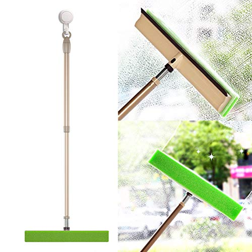 BOOMJOY Window Squeegee Combo, 3 in 1 Window Cleaner with Adjustable Pole 41.5', Multi-Purpose Window Scrubber kit for Car Outdoor