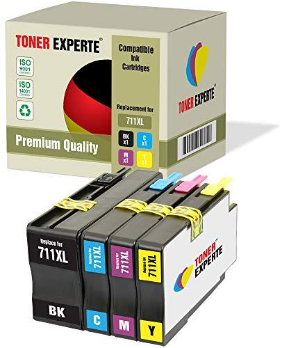 Kit 4 XL TONER EXPERTE® Sostituzione per HP 711XL 711 XL Cartucce d'inchiostro compatibili con HP DesignJet T120, T520 (Nero, Ciano, Magenta, Giallo)