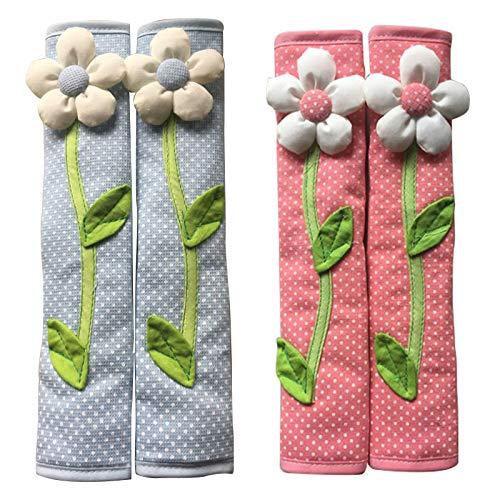 ACAMPTAR 2 pares de manillas de puerta de nevera, diseño de lunares, color azul y rosa