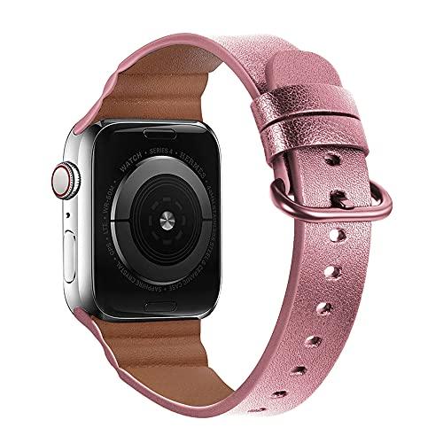 QINJIE Correa Compatible con Apple Watch, Correa de Cuero para Mujer y Hombre Correa de Repuesto Vintage con Hebilla de Bandas clásicas,C,42MM