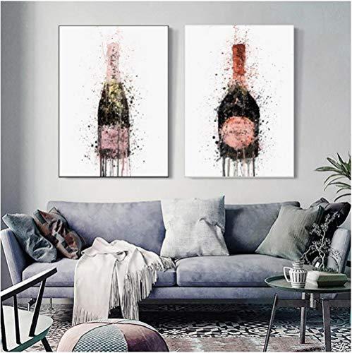 Jwqing Wohnkultur Drucke Malerei Nordischen Stil Champagner Graffiti Bilder Wandkunst Leinwand Poster Moderne Für Nacht Hintergrund (40x60 cm x 2 Kein Rahmen)