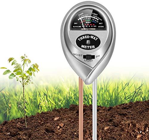 3-in-1 pH Bodentest, Bodentester, Feuchtigkeitsmesser Pflanzen, Blumentopf GießAnzeiger Feuchtigkeit/Sonnenlicht/Ph Meter Messgerät für Erde Garten Bauernhof Rasen, Keine Batterien Erforderlich