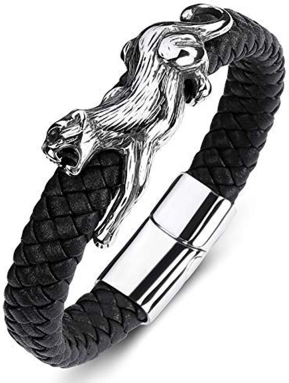 Zicue Stylish Charming Bracelet Exquisite Ornaments Men's Leather Bracelet Jaguar Stainless Steel Magnet Buckle Leather Titanium Steel Punk Bracelet Bracelet,165Mminnercircumference