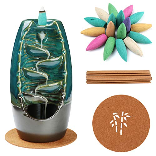 XUDREZ Keramik-Räucherstäbchenhalter mit Rückfluss und Wasserfall-Räucherkegel, Aromatherapie-Ornament mit 120 Rückfluss-Räucherkegeln + 30 Räucherstäbchen, blaues Set