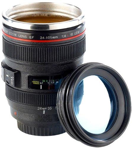 Somikon Objektivbecher: Kameraobjektiv-Becher, doppelwandig, innen Edelstahl, 300 ml (Trinkbecher Kameraobjektiv)