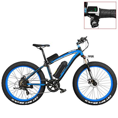 LANKELEISI XF4000 Bicicleta de montaña eléctrica 26 Pulgadas, neumático de Grasa 4.0, Bicicleta Nieve, batería de Litio 48 V, Bicicleta de Asistencia al Pedal (Blue-LED, 500W)