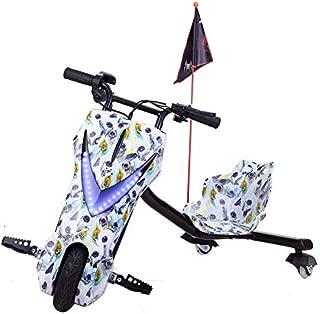 YIAIY Triciclo Eléctrico Drift, Juguete Eléctrico Kart Vespa De Los Niños Fresca 36V del Coche Eléctrico De 20 Km/H,Blanco