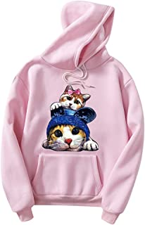 Bloomn Fashion Couples Hoodie Pocket Cat Print Pullover Sweatshirt Blouse