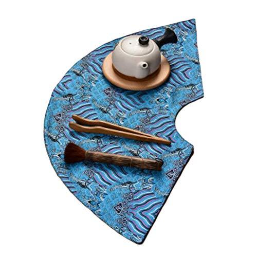 Wukong Paradise Nappe à thé Tapis à thé Broderie sous-Verres à thé Chemin de Table Accessoires de thé-A05