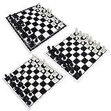 XHH Juego de ajedrez portátil para torneos de ajedrez, 32 Piezas de plástico y Tablero de ajedrez de Rollo Negro (Familia de Entretenimiento de Rompecabezas)