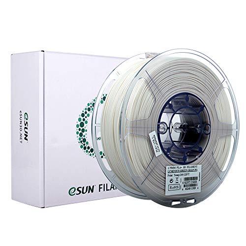 eSUN Filamento PLA+ 1.75mm, Verde Brilla en la Oscuridad, Filamento PLA Plus de Impresión 3D, Precisión Dimensional +/- 0.03mm, 1KG (2.2 LBS) de Carrete para Impresora 3D, Verde Luminoso