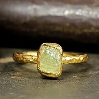 Natural Raw Yellow Apatite Stacking Ring Handcrafted Hammered 24K Yellow Gold Vermeil 925 Solid Sterling Silver Stackable Rough Gemstone Ring