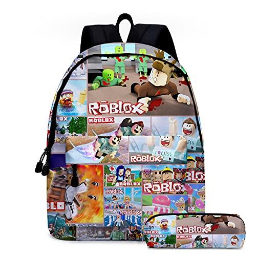 ZBK Juego de dibujos animados Roblox Theme School Bag Set,Mochila para portátil con estuche para lápices, para estudiantes, niños, niñas, 3 colores
