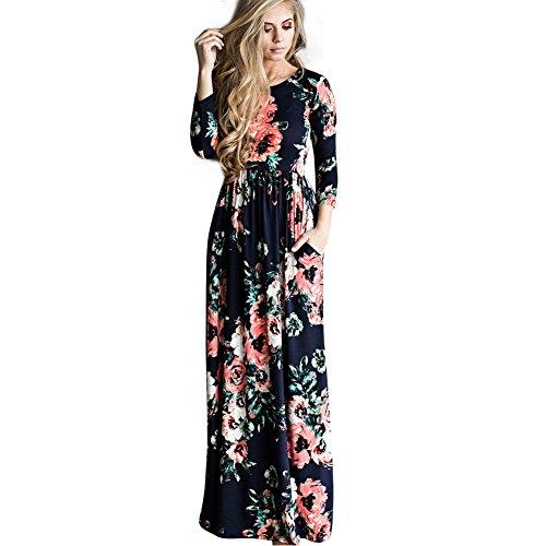 Vestido longo casual com estampa floral Hooyon e bolsos, Royal Blue, Large