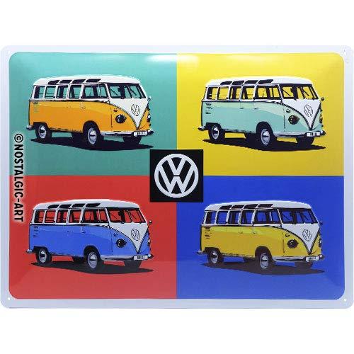 Nostalgic-Art Cartel de Chapa Retro VW – Bulli T1 – Pop Art – Idea de Regalo de Furgoneta Volkswagen, metálico, Diseño Vintage Decorativo, 30 x 40 cm