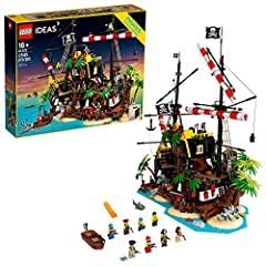 Build and play or display this LEGO Ideas Pirates of Barracuda Bay (21322) shipwreck island model; The island can also be split in half and rearranged, revealing buried pirate treasure This set has 8 minifigures including Captain Redbeard, Lady Ancho...