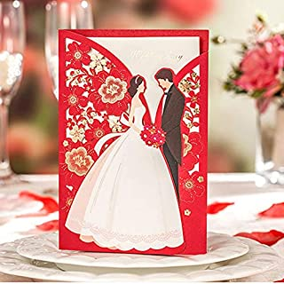 Wishmade 50pcs Red Laser Cut Wedding Invitations Card with Elegant Bride and Groom Flora Design for Engagement Bridal Shower Anniversary Marriage Mr Mrs Invites (Set of 50pcs)