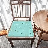 Cojín de espuma viscoelástica para silla, diseño pequeño azul, comodidad y suavidad superiores, lavable, asiento de coche, silla de oficina/sillas de comedor
