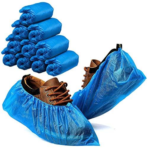 100 Stück Schuhüberzieher, 50 Paar Überschuhe aus hochwertigem CPE Material, Überziehschuhe wasserdicht und extradick Für Familien und Outdoorreisen