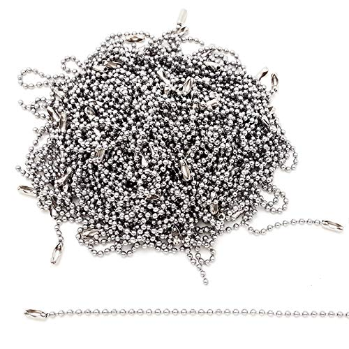 Stainless Steel Ball Chain Tag Key Chain Connector 6 Inch Long 2.4mm Bead Dia 100 Pcs