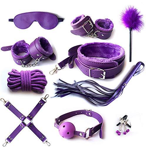 10pcs Purple Harness Black Sports Kit Bodybuilding Set para ejercicio de yoga