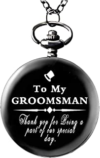 Udaney To-My-Groomsman Pocket Watch White Dial for Groomsman Gifts for Groomsman from Groom, Wedding Gifts for Men,Engraved Pocket Watch with Gift Box for Men