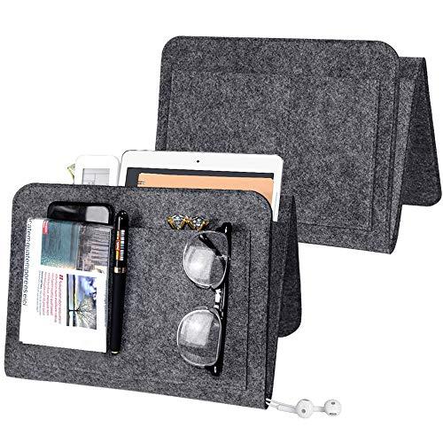 SITAKE 2 Stück Bettaufhänger Organize, Sofa Filz Hängende Organizer Tasche, 5 Taschen Nachttisch Caddy-Hängetasche für Bett, TV-Fernbedienung, Wasserflasche,Buch (Mittelgrau, 2)