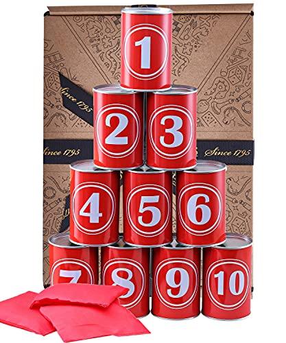 Jaques of London Gioco Tin Can Alley - Giochi all aperto per Bambini - Scatole Metalliche Reali, Bellissimi Suoni clanging - Include Sacchetti di Fagioli Resistenti dal 1795