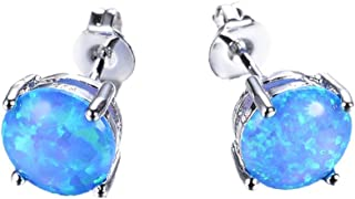 Three Color 925 Sterling Silver Round Cut Opal Stud Earring 7.5MM (Blue)