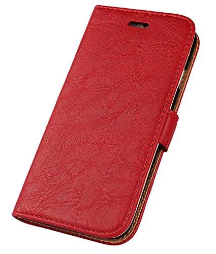 FDTCYDS Etui iPhone 6s, Coque iPhone 6 Pochette Portefeuille en Cuir Véritable Coque de Protection pour Housse Apple 6/6s avec Fonction Stand – Red/Rouge