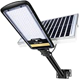 200W Solar Street Lights Outdoor Lamp, 96pcs HB-LEDs 8000lm IP67 Dusk to Dawn Security Led Flood Light with Remote Control Mounting Pole and Bracket Garden, Street, Court, Parking Lot