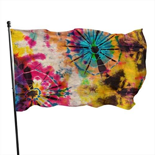 Rainbow Tie Dye Bandera Vintage 3x5 Ft Bandera grande de poliéster cosida Bandera estándar para colgar en el exterior para patio, jardín, césped, vacaciones