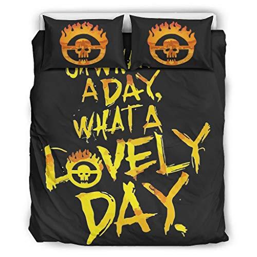 DOGCATPIG Ropa de cama para todas las estaciones Mad Max Fury Road What A Lovely Day OversizedReversible elegante colcha para pareja blanca 66x90 pulgadas