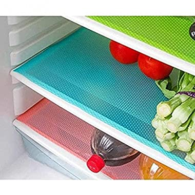 HityTech 4 Pack Refrigerator Mats, EVA Refrigerator Liners Washable Can Be Cut Refrigerator Pads Fridge Mats Drawer Table Placemats/Size 17.7  x 11.8  - Random Colors