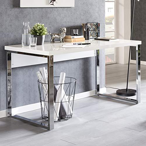 KADIMA DESIGN Escritorio de diseño moderno Eilrac, 140 x 70 x 76 cm, grande, color blanco brillante, 140 cm de ancho, mesa para ordenador con patas de metal para el hogar y la oficina