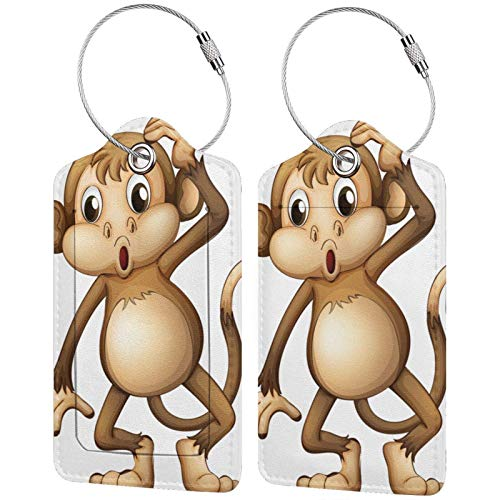 PU Leather Travel Luggage Tags,Cute Monkey Printed Travel Id Labels,Business Card Holder,Suitcase Labels,Travel Accessories,with Privacy Cover Stainless Steel Ring