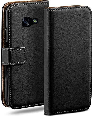 moex Klapphülle kompatibel mit Samsung Galaxy A3 (2017) Hülle klappbar, Handyhülle mit Kartenfach, 360 Grad Flip Hülle, Vegan Leder Handytasche, Schwarz