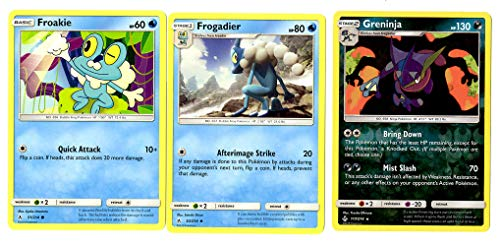 Evolution Card Set - Greninja 117/214 - Sun Moon Unbroken Bonds - Rare Holo 3 Card Lot