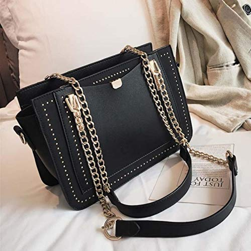 Hzryc Luxury Rivet Handbag Women Bag Designer Metal Chain Tote Bags Casual PU Leather Crossbody Bag Bags For Woman,Black,27x10x18cm